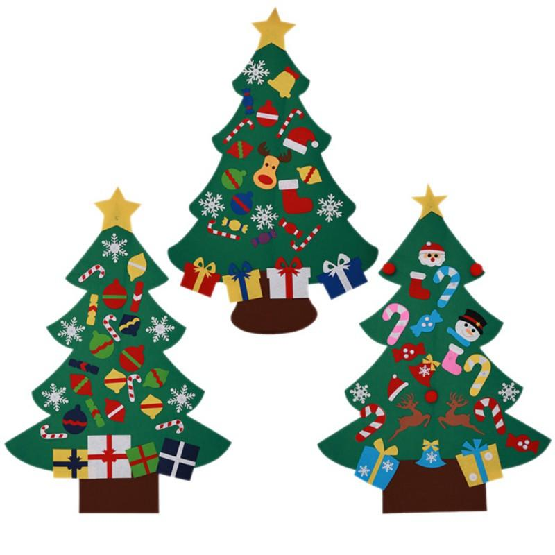 Christmas Wall Hanging Decorations.Diy Christmas Tree With Lovely Ornaments Door Wall Hanging Decoration New Year Christmas Toy Non Woven Children Christmas Gifts