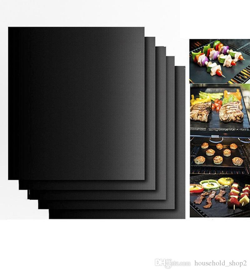 DHL 0.2mm Barbecue Grill Mat 33*40cm non-stick Reusable high temperature resistance BBQ Mats picnic party cooking tools