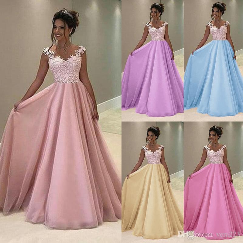 80cd771c9e25 2019 Long Prom Dresses 2018 New Elegant A Line V Neck Lace Formal Party  Gowns Wedding Guest Dress Vestidos De Fiesta Rojos From Vera223