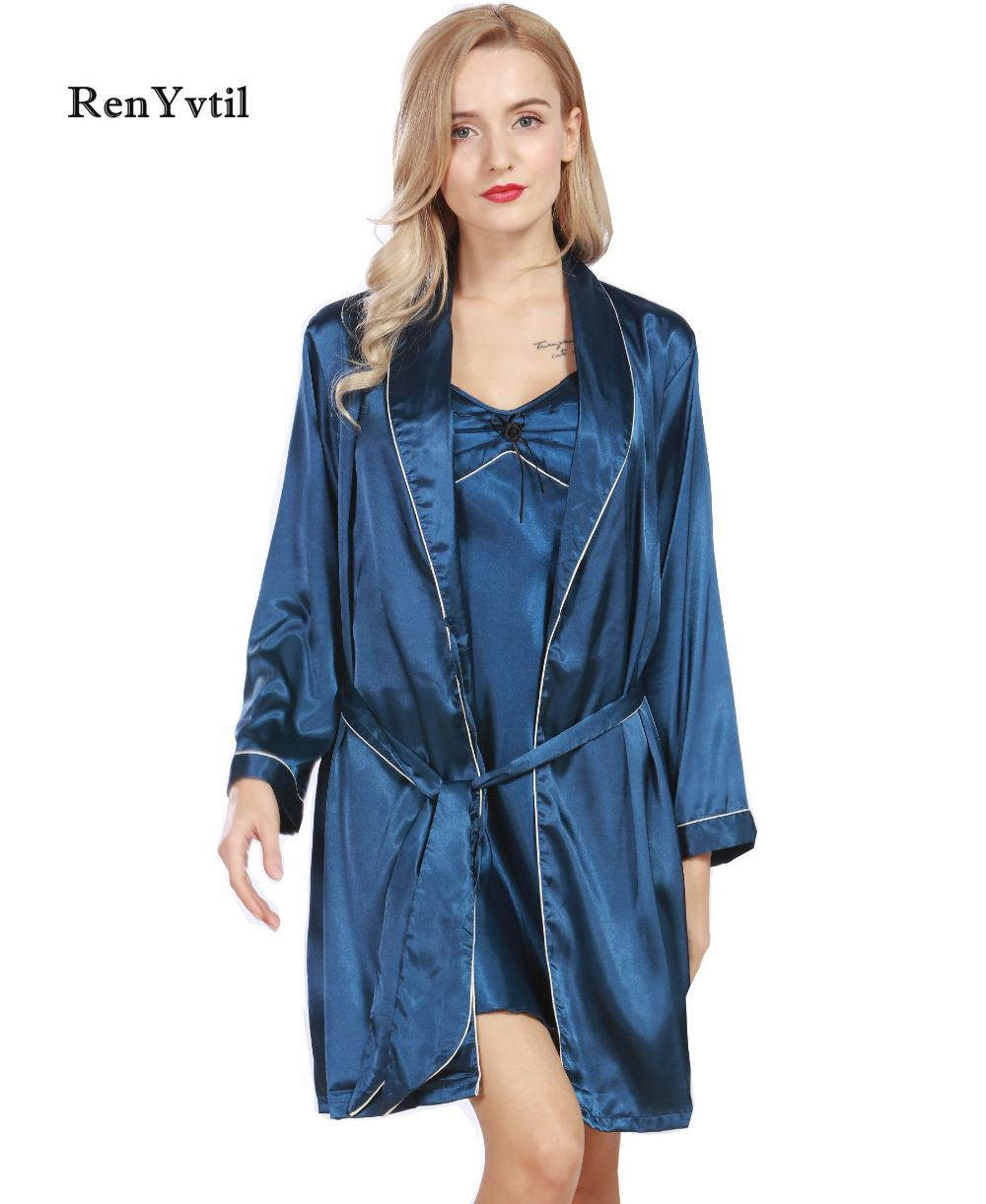 2018 Renyvtil Women Robe Gown Sets Brand 2017 New Luxury Ladies Faux ...