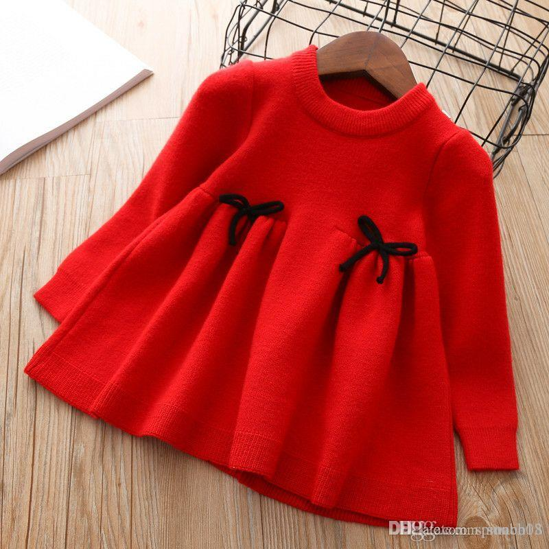 f52ced05c3c 2018 Autumn Baby Girls Sweater Dress Long Sleeve Knitted Pullovers Tops  Bowknot Children Knitwear Sweaters 4137 Knitting Boys Sweaters Knitted  Sweater ...