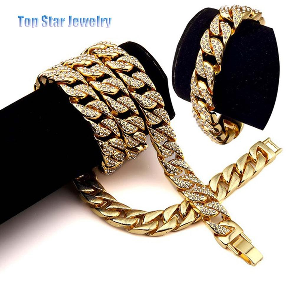 Hip Hop ICED OUT Jewelry Sets 24K Gold Plated Full Diamond Necklace & Bracelet Set Men MIAMI CUBAN LINK CHAIN Bling Bling Accessory
