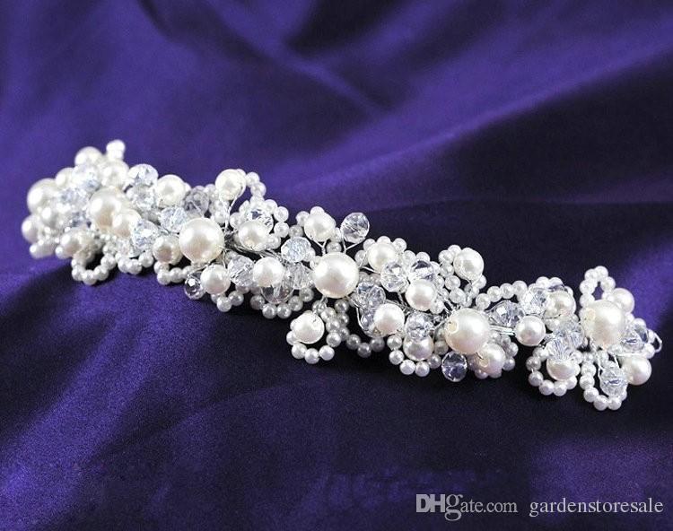 Nuevo tocado cristalino de la novia de la perla blanca del pelo coreano a mano joyería nupcial del pelo de los accesorios del vestido de boda Envío libre