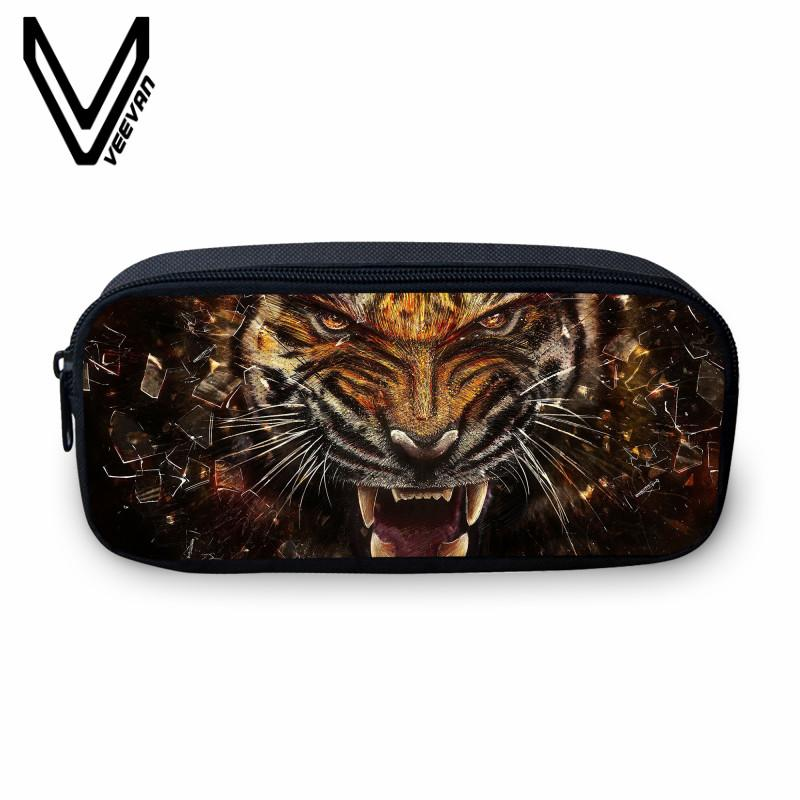 VEEVANV New Pencil Case Women Makeup Bag Large Wallets Tiger Image 3D Printing Bag Fashion Animal School Storage Pouch for Boys