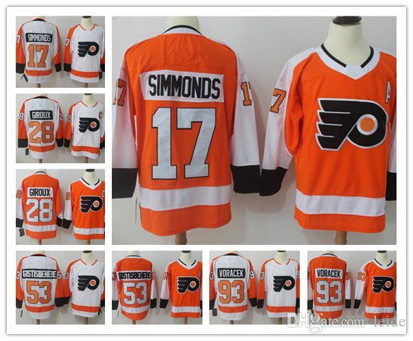 2018 2018 Ad New 17 Wayne Simmonds 28 Claude Giroux Jersey 93 Jakub Voracek  53 Shayne Gostisbehere Jerseys Ice Hockey Orange Jerseys From Leide e4935d3b1