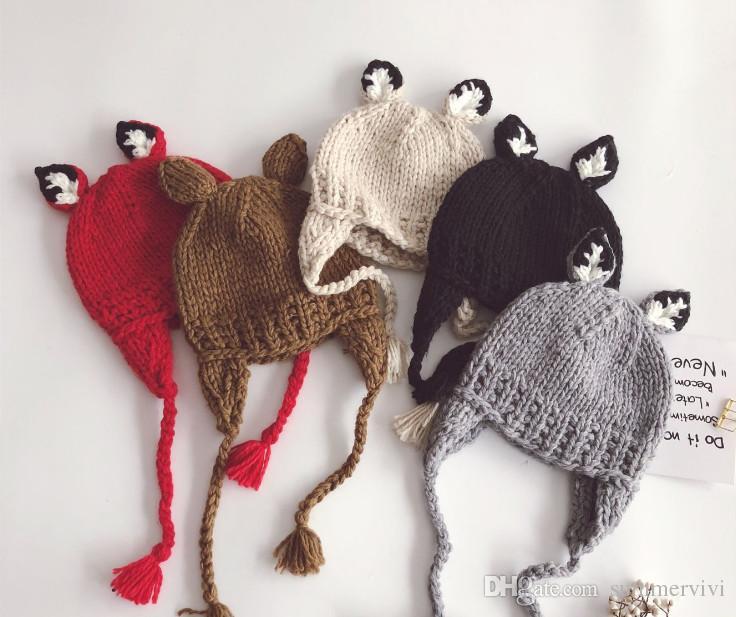4ac5e7e654 Acquista Bambino Bambini Simpatico Cartone Animato Cappello Crochet Ragazze  Stereo Auto Orecchie Knited Beanie Bambini Crochet Nappa Treccia Orecchie  ...