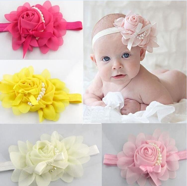6d3758a7341 Stylish Baby Chiffon Pearl Beaded Headband Kids Rose Satin Bow Headdress  Flower Infants Hairband Children Head Wear Photography Prop Red Flower Hair  ...