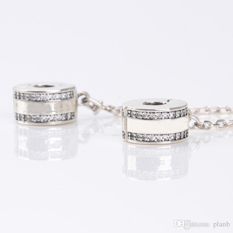 Mode frauen 925 sterling silber klar cz sicherheit kette clip fit pandora charms armband diy schmuck machen