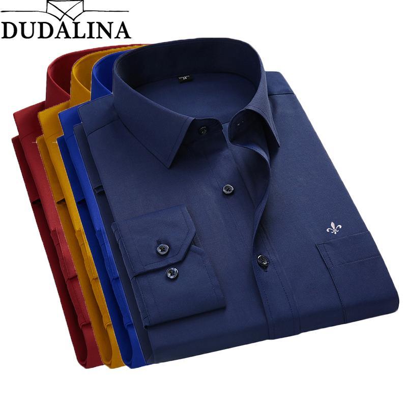 newest 99857 102f6 DUDALINA 2018 Camicia Uomo Taglie Taglie Tascabili Maniche Lunghe Classiche  Camicie da uomo Camicia formale da uomo Logo ricamo