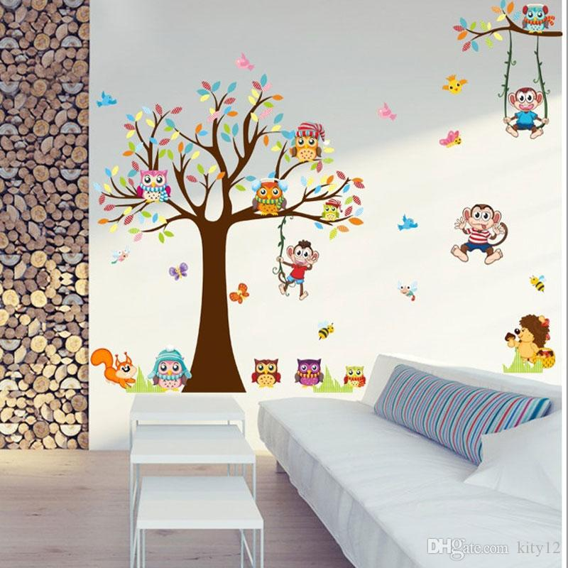Wholesale Pastoral Style Background Decor Jungle Theme Forest Animal Owl Monkey Tree Decal Kid Room kindergarten Wall Stickers