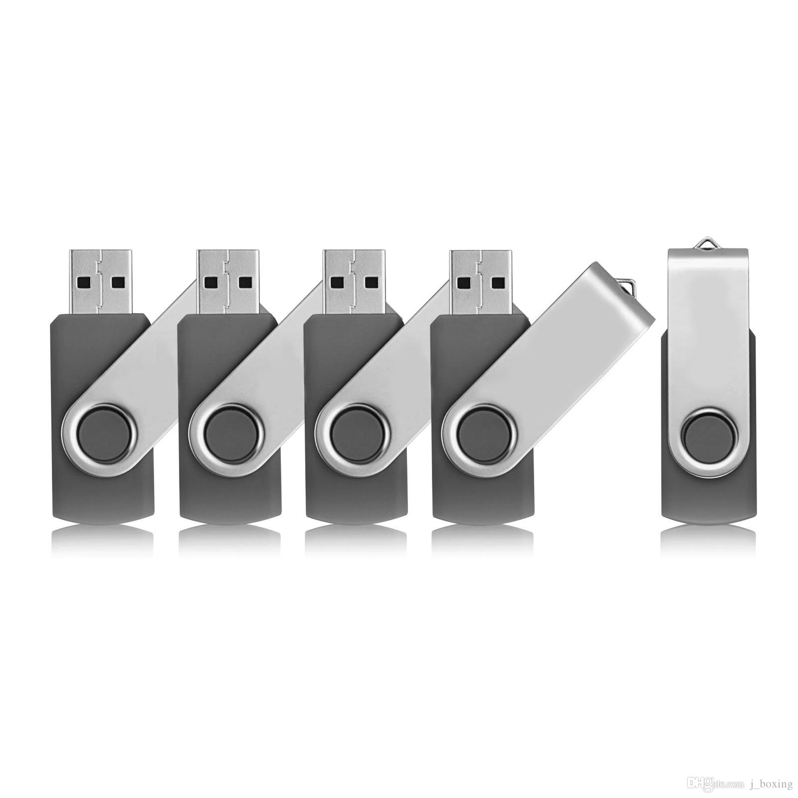 Gray 5PCS/LOT 1G 2G 4G 8G 16G 32G 64G Rotating USB Flash Drives Flash Pen Drive High Speed Memory Stick Storage for PC Laptop Macbook