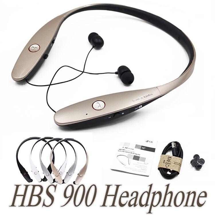 Auriculares inalámbricos HBS 900 Auriculares deportivos con banda para el cuello HBS900 Auriculares estéreo Bluetooth 4.0 estéreo para Samsung iPhone LG HTC con paquete