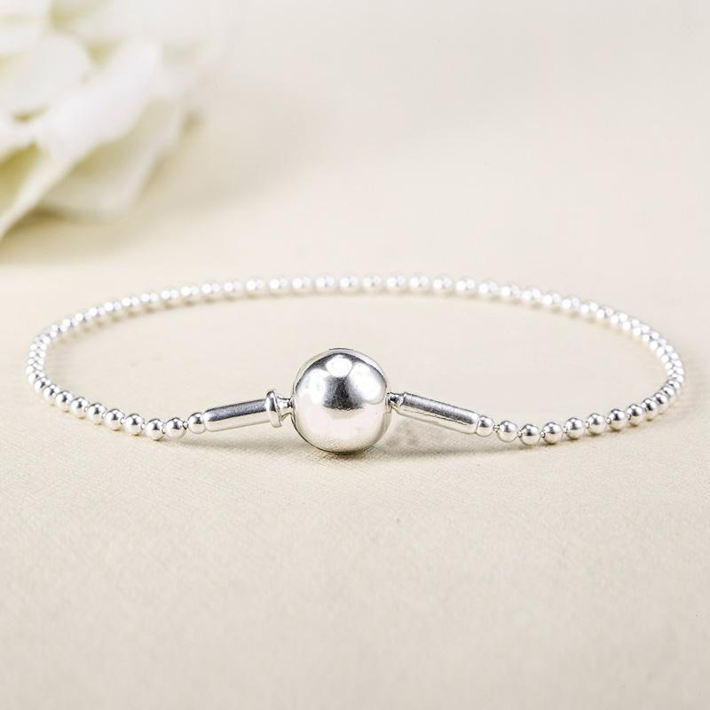 Top Quality 925 Sterling Silver Bracelet ESSENCE COLLECTION Beaded Bracelet Bangle For Women Wedding Party fit Lady Jewelry