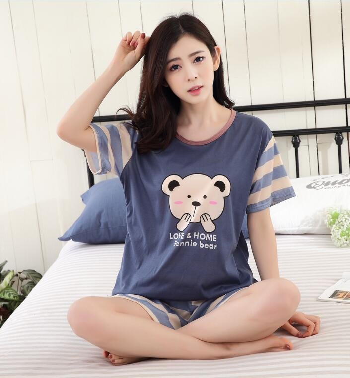 ad389ad7ded2 2019 Hot Women Pajamas Sets WAVMIT Summer Short Sleeve Thin Cartoon Print  Cute Sleepwear Girl Pijamas Mujer Leisure Nightgown Women From Pamele