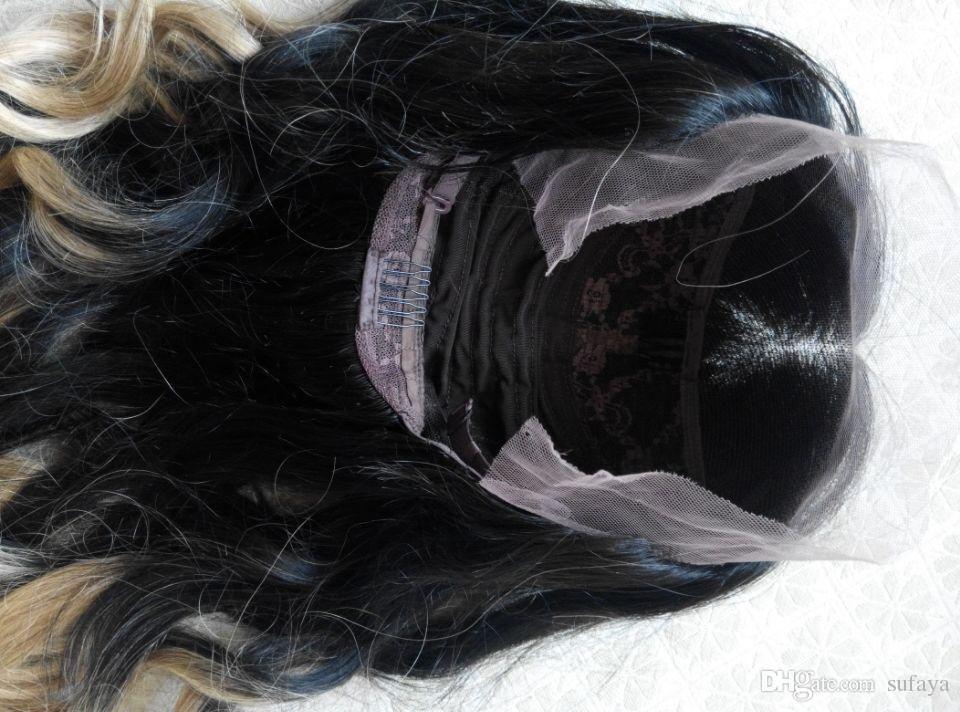 El nuevo llega el mejor cordón brasileño del cordón del pelo de la Virgen humana Ombre T1B270 # Color negro / rubio natural