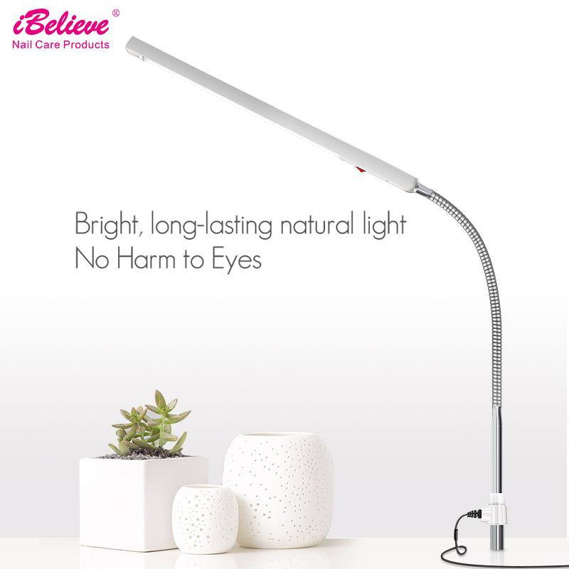 iBelieve LED Nail Art Desk Lamp 360 Degree Rotation Ultra-Slim Metal Arm Eye-Caring Office Nail Art Table Lamp