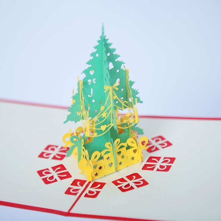 2 Design Christmas Greeting Cards Handmade 3D Pop Up Christmas Tree Greeting Cards Postcards Xmas Gift Vintage Retro Pierced Post Card