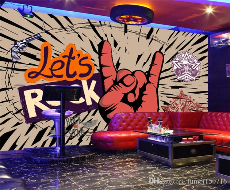 Custom Photo Wallpaper Rock Music Art Mural KTV Bar Cafe Wall Decorative Painting Paper Poster Wall Paper Murales De Pared 3D