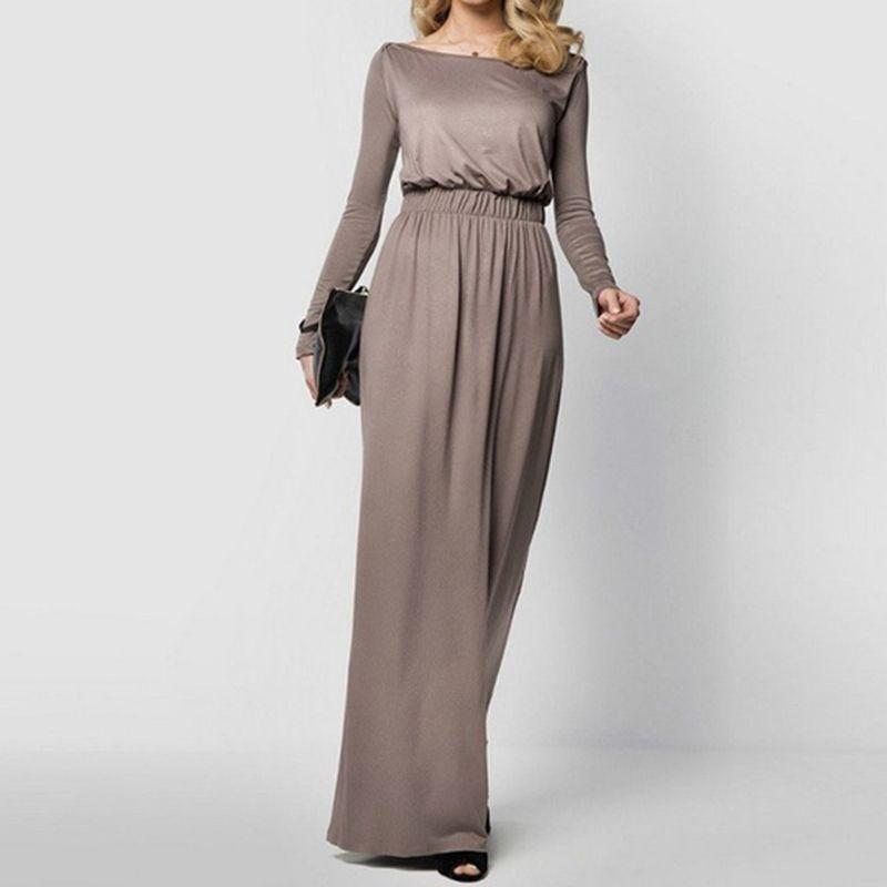 d1d0574cc9e6 Women Maxi Dress Female Summer Elegant Loose Long Sleeve Retro Slash Neck  Casual High Waist Cotton Long Dresses Vestidos Prom Dress Designers Coctail  ...