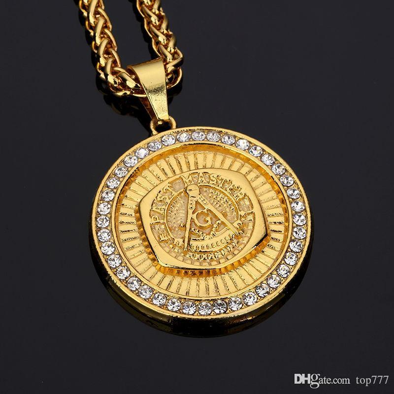 2018 Men's Fashion Jewelry Pendant Necklace Zinc Alloy Free Pendants Gold Hip Hop Antique Rock