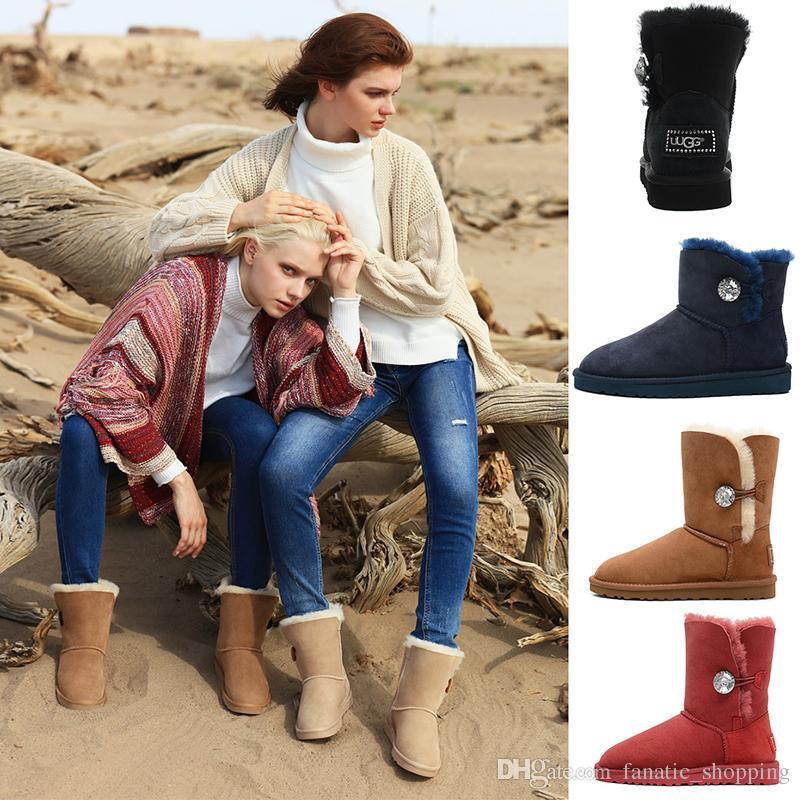13c2f30b2b WGG Bailey Designer Women Australia Classic Ankle Knee Short Half Boots  Glitter Winter Snow boots Crystal Button Bling Boot 36-41