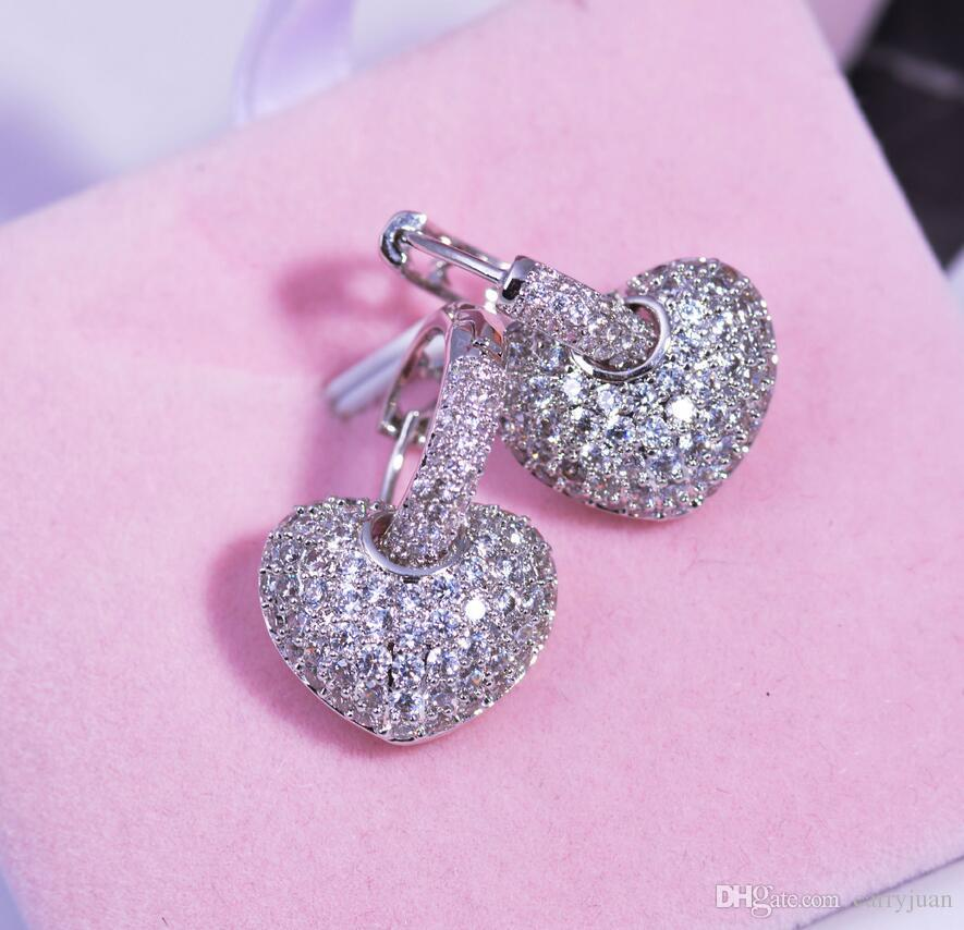 Brand New Luxury Jewelry 18Kt Whiterose Gold gefüllt Pave Full White Sapphire CZ Diamant Frauen Tropfen Ohrring Für Liebhaber Geschenk mit Kasten