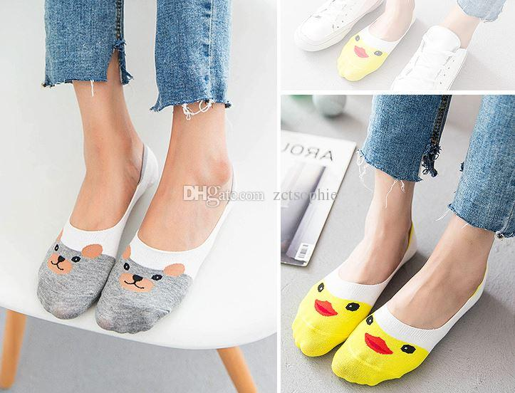Summer New Arrival women cute cartoon animal pattern invisible for ladies sock slippers /box