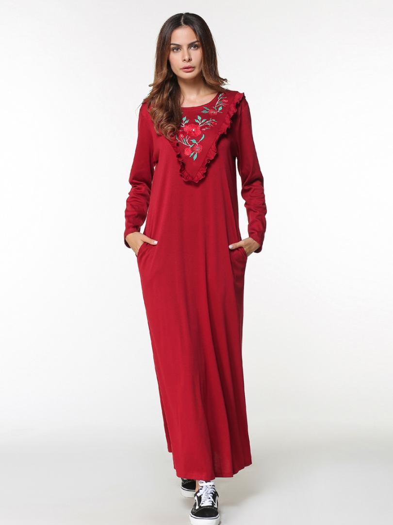 d96a115f883 Acheter Musulman Abaya Coton Broderie Maxi Robe Longue Femme Floral Rouge  Kimono Jubah Robe Arabe Islamique Vêtements Longueur Complète De  56.83 Du  Ziron ...