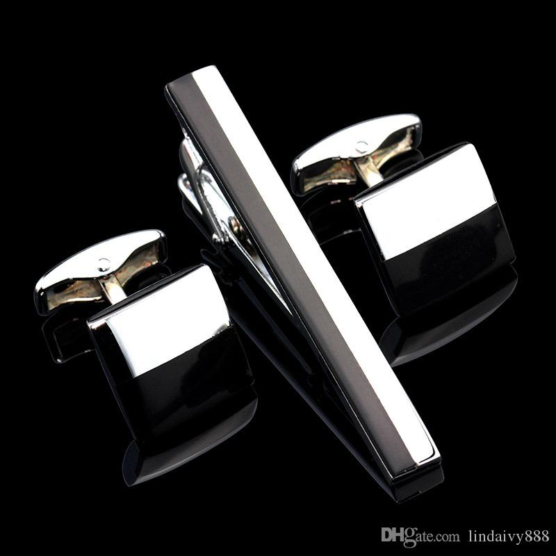 CLassic Tie Clip Cufflinks Set Top Quality Men's Tie Pin Cuff links Set for party Wedding Wholesale Tie Bar Link Set