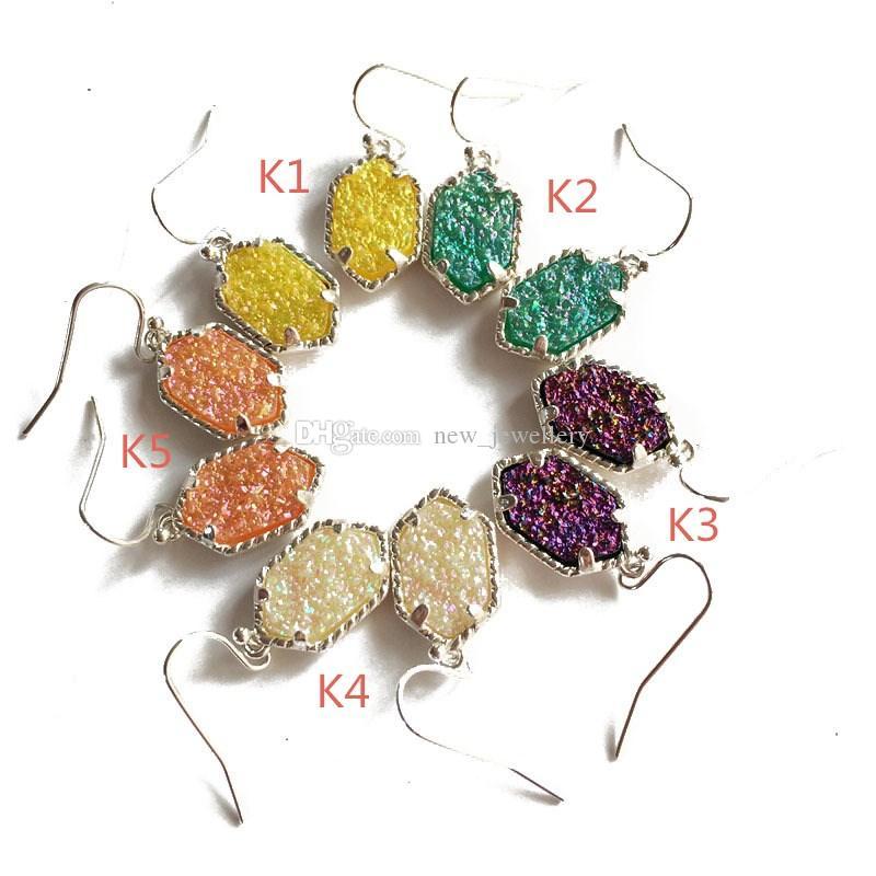 Mode druzy drusy halskette ohrringe kendra silber vergoldet faux naturstein scott halsketten ohrringe für frauen marke schmuck