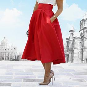 plus de photos 61a72 4cab7 La mode des femmes de mariage d été haute taille une ligne plissée jupe  mi-longue smt87