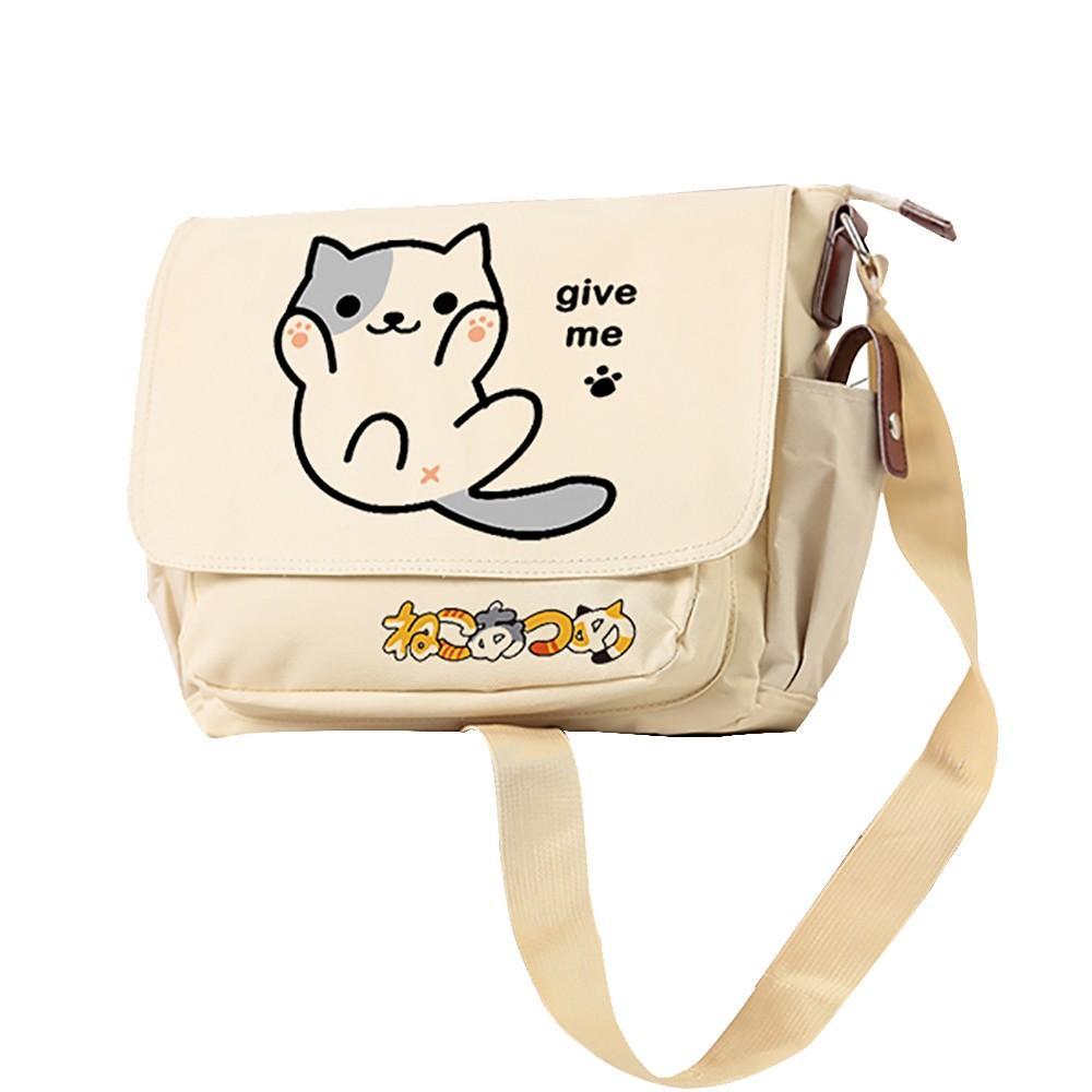 6df92087498 MeanCat Cute Cats Family Japanese Neko Atsume Shoulder Bags Oxford Neko  Atsume Messenger Bag in Black Khaki Color