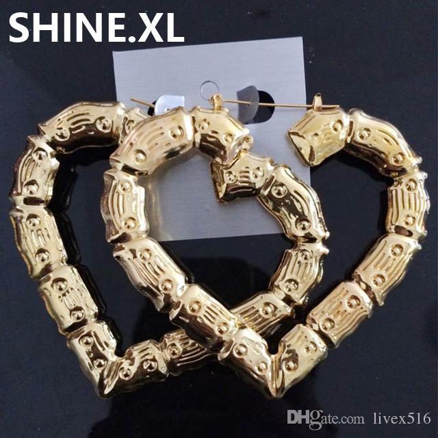 Big Bamboo Earrings Declaración de tono dorado Hip-Hop Trendy Star Heart Round Large Circle Hoop Earrings para Mujeres
