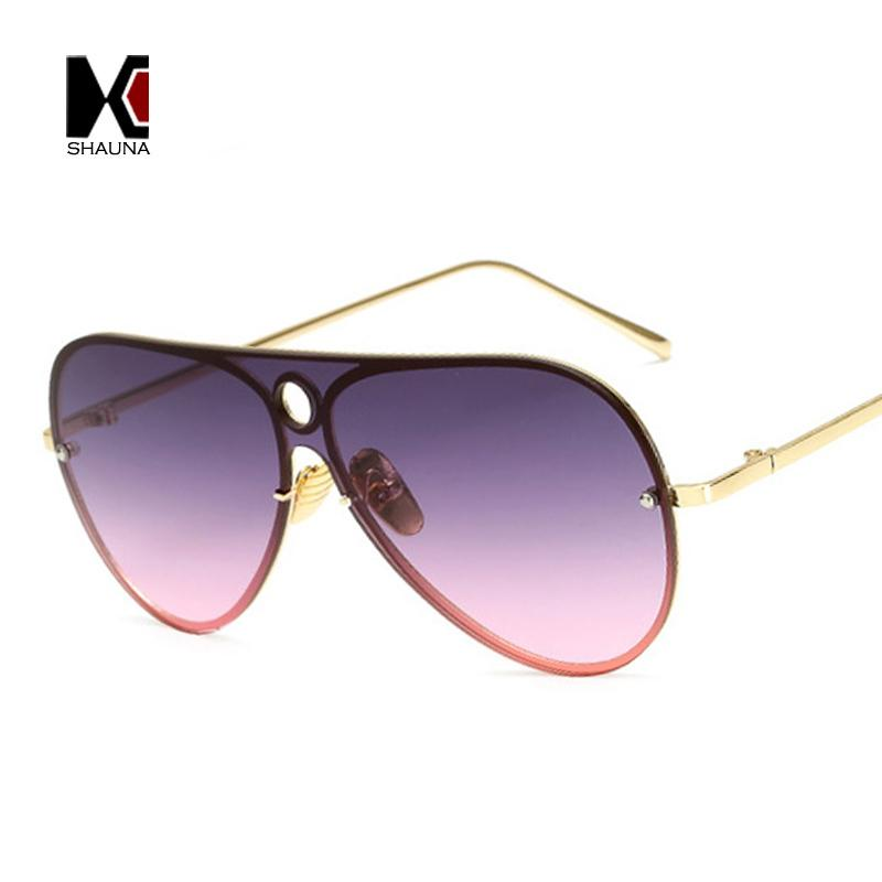 86b5e1c2118 SHAUNA Classic Rimless Women Pilot Sunglasses Brand Design Travel ...