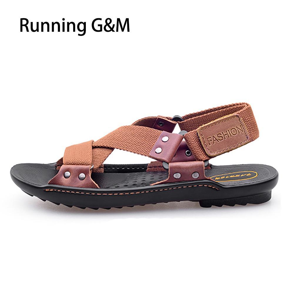 Sandalias Gm Playa Zapatos Compre Hombre Marrones Planas Patchwork RLA345jq
