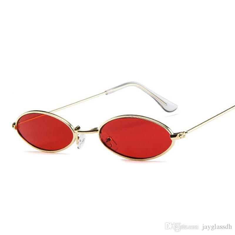 08fefe8c9e417 Compre Pequenos Óculos De Sol Ovais Para Mulheres Homens Masculino Retro  Armação De Metal Amarelo Vermelho Do Vintage Pequeno Rodada Óculos De Sol  Para As ...