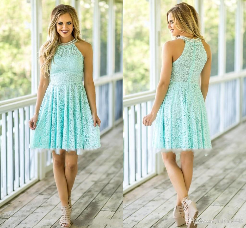 2018 Country Bridesmaid Dresses For Weddings Mint Beach High Neck Pearls Full Lace Short Mini Zipper Back Maid of Honor Wedding Guest Gowns
