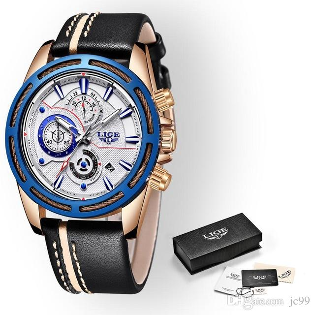 fa800442e250 Compre Relogio Masculino LIGE 2018 Nuevo Diseño Moda Marca Relojes Hombres  Cuero Deporte Fecha Cronógrafo Cuarzo Reloj Hombre Regalos Reloj A  60.91  Del ...