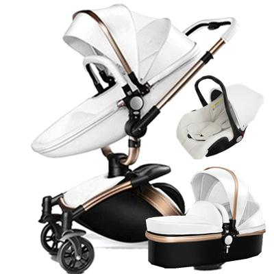 Luxury High Landscape Aulon Baby Stroller 3 In 1 Travel System Baby Pram 360 Rotation Pushchair With Bassinet And Car Seat