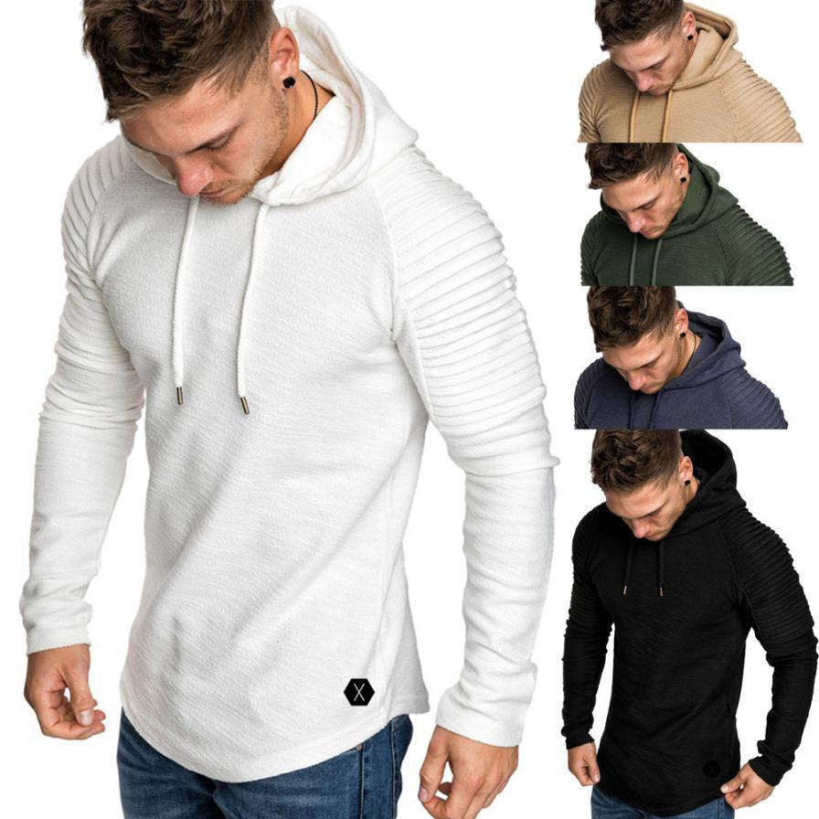 ff1263f68 2019 Men Pure Color Hoodies Winter Pleats Slim Fit Raglan Long Sleeve  Autumn Casual Pullover Coat For Man Size M Xxxl From Cantury, $28.74 |  DHgate.Com