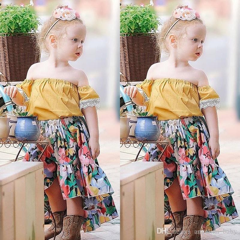 db037bb96 2019 2018 New Kids Girls Asymmetrical Floral Princess Dress Set Off ...