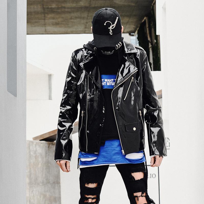 grand choix de 08af6 ff0e8 Hommes Veste En Cuir Punk Hip Hop Casual Moto Veste Manteau Mâle Streetwear  Manteau Spectacle De Scène Customes Hommes Vêtements