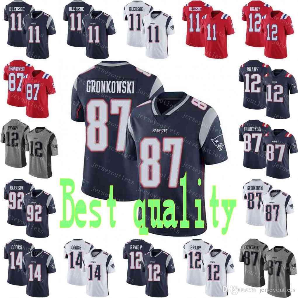 fa2f47cff 2019 New 12 Tom Brady Patriots Jersey Men 87 Rob Gronkowski 11 Julian  Edelman 14 Brandin Cooks 92 Harrison Football Jerseys From Jerseyoutlets
