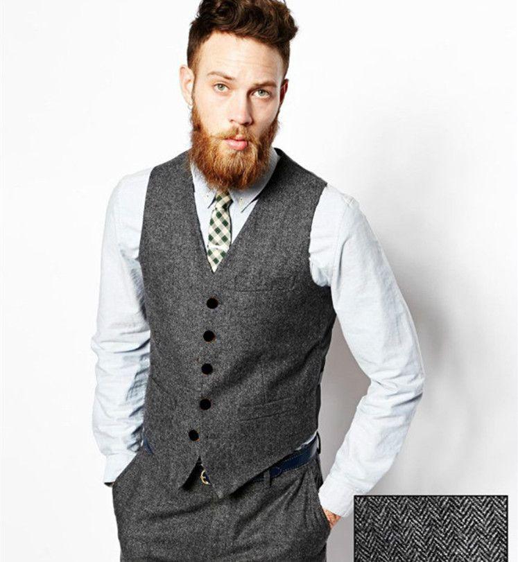 Novio 2018 Desgaste Hombres Compre Tweed Bolsillos Chaleco Los Espiga Vintage De Vestir Lana Chalecos Traje Gris q4HwIF