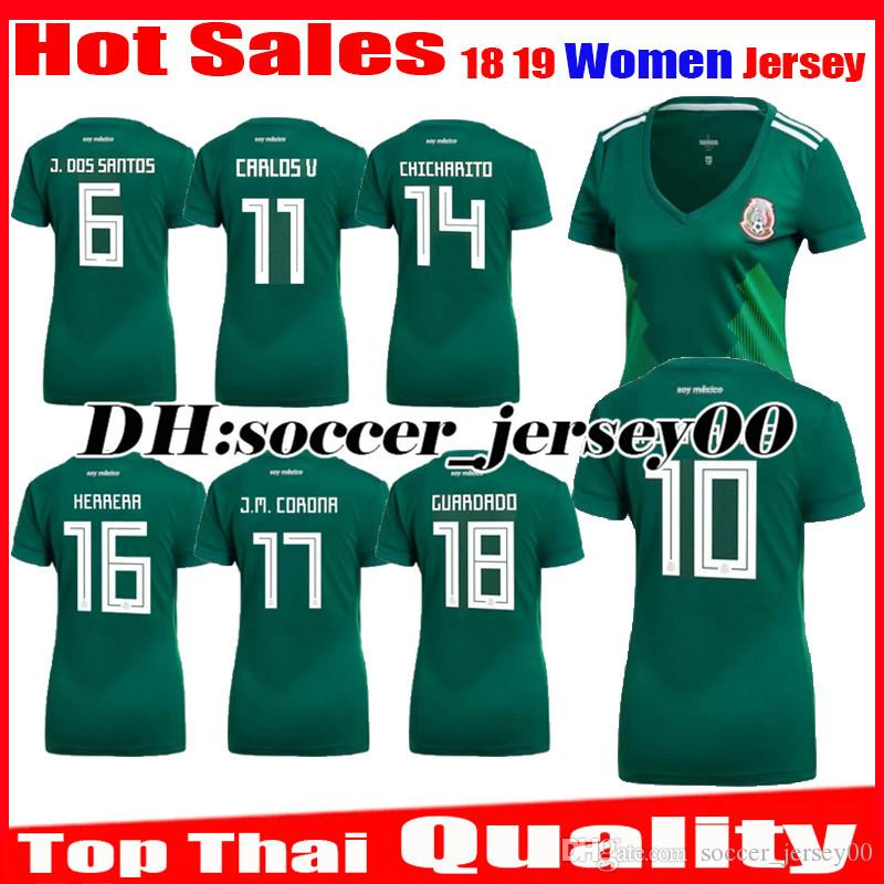 066f1313839 2018 2019 Mexico Women Soccer Jersey World Cup Girl Home Green ...