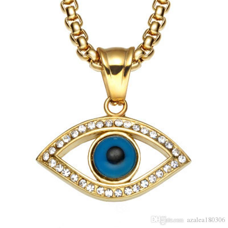 Collana con ciondolo a forma di occhio di leone Collana con ciondolo a forma di occhio di cristallo intagliato in acciaio inossidabile 60 cm