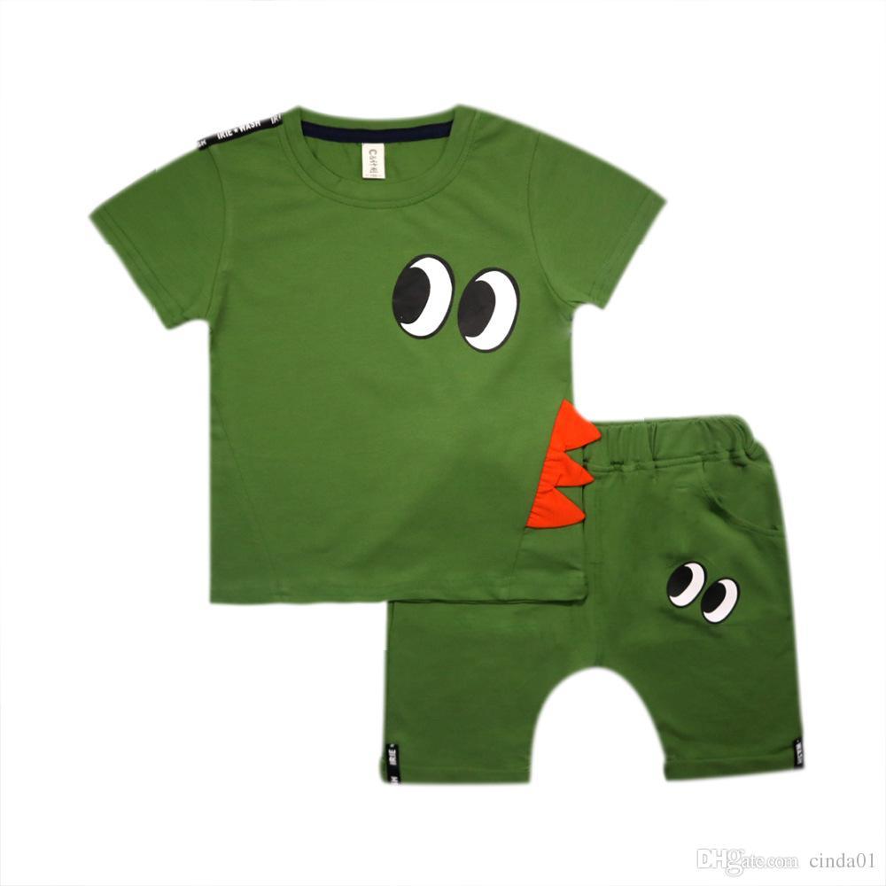 Komik Tasarım Çocuk Giyim Yaz Rahat Takım Elbise Emoji Baskılı Pamuk Kısa Kollu Gömlek Kısa Pantolon 2 ADET