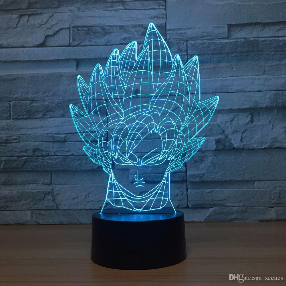 Dragon Ball Goku 3D Optical Illusion Lamp Night Light DC 5V USB Powered AA Battery Wholesale Dropshipping