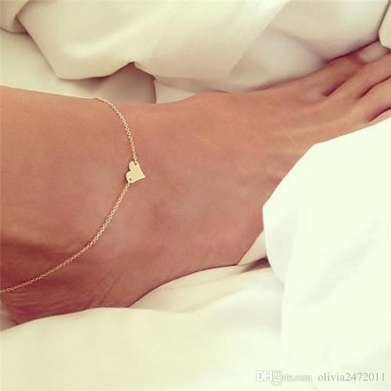 Tono dorado plateado Cadena de pie sexy Tobilleras Pulseras En forma de corazón Joyería vintage de moda para mujeres Niñas