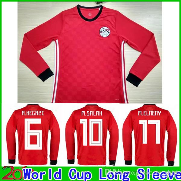 cf3e80567 2019 Long Sleeve 2018 World Cup Egypt Home Red Soccer Jersey 18 19 Egypt M.  SALAH KAHRABA Ramadan ElNenny Top Quality Soccer Shirt Football Shirt From  ...